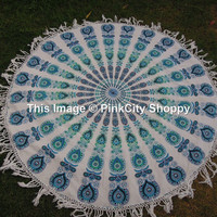 Roundie Mandala, Tassel Fringing Round Beach Throw, Yoga Mat, Tassel Fringe Beach Sheet, White Blue Mandala Round, Cotton Round Mandala Art
