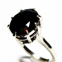 "Black spinel ring, black spinel,  black cocktail ring, black jewelry, black, s 4 3/4  ""Black Bling"""