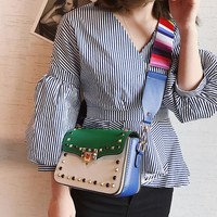 Small Bag Female Wild Wide Shoulder Strap Rivet Shoulder Slung Handbags