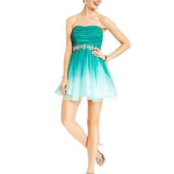 B Darlin Juniors Dress, Strapless Ombre A-Line