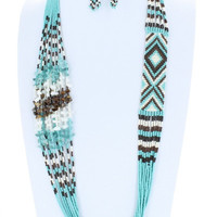 AZTEC Trendy Seedbead Long Necklace and Earrings Set Beaded Fashion Turquoise Brown Black White Bead Costume Jewelry Gift