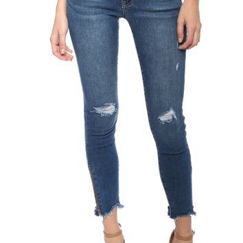 Just Black Destroyed Zipper Skinny
