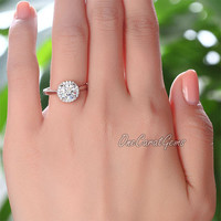 1 Carat Brilliant Cut Lab Made Diamond Halo 925 Sterling Silver Wedding Engagement Bridal Ring