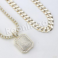 """Iced Out Micro Pave Hexagon Dogtag Pendant w/ 18"""" Tennis / 30"""" Cuban Chain"""