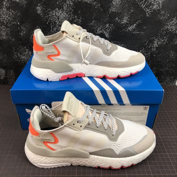 hcxx A1167 Adidas Nite Jogger 2019 3M Reflection Boost Running Shoes White Orange