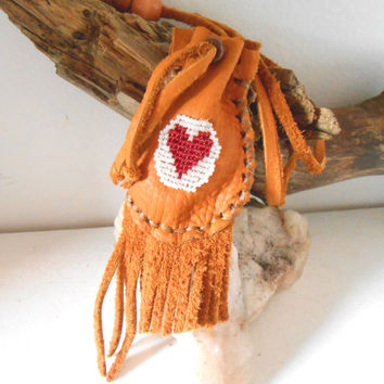 Beaded Medicine Bag, Amulet Bag, Red Heart Bead Design, Small Leather Pouch, OOAK, Handmade, Fringe Pouch, Hippie, Boho, Gypsy