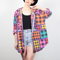 Vintage 90s Shirt Rainbow Black Plaid Oversized Shirt 1990s Blouse Draped Buffalo Plaid Hipster Draped Jacket Top Soft Grunge Shirt XL XXL