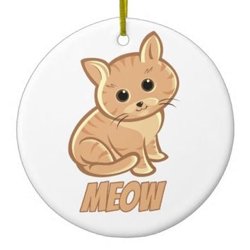 Wheat Tan Cute Cat Circle Ornament