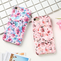 Fashion Flower Print Leather Case For iphone 7 6 6S Plus Fundas Ultra thin Soft PU Back Cover Elegant Lady Floral Phone Cases
