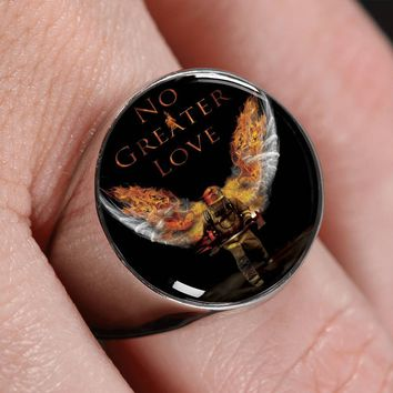 No Greater Love Firefighter Ring