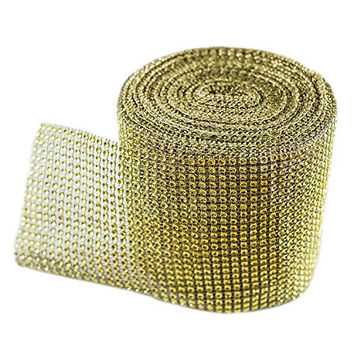 "Gold Diamond Sparkling Rhinestone Mesh Ribbon for Event Decorations, Wedding Cake, Birthdays, Baby Shower, Arts & Crafts, 4.75"" x 10 Yards, 24 Row, 1 Roll by Super Z Outlet®"