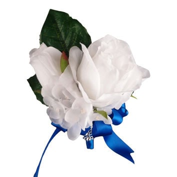 Pin corsage-White rose,hydrangea,Royal blue ribbon(ribbon color can be changed upon request)