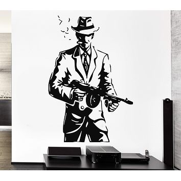 Wall Stickers Vinyl Decal Gangster Hat Gun Weapons Mafia Tommy-Gun Unique Gift (ig855)
