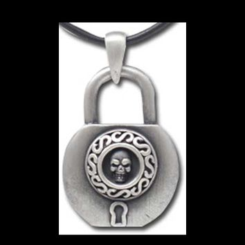 Pirate Skull Padlock Necklace Steampunk Pendant on Black Cord