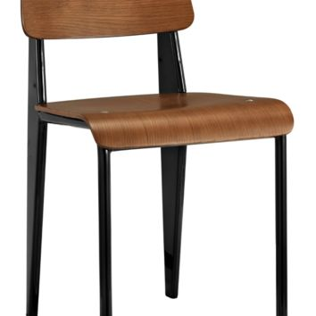 Prouve Style Side Chair - Walnut and Black