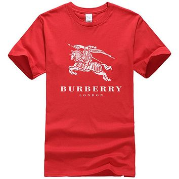 Burberry Summer New Fashion Letter War Horse Print Women Men Leisure Top T-Shirt Red