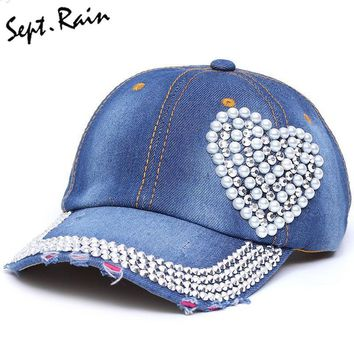 [Sept.Rain] Pearl Love High Quality Rhinestone Hats Baseball Caps Sun Solid Adjustable Caps Women's Hat Denim And Snapback Cap