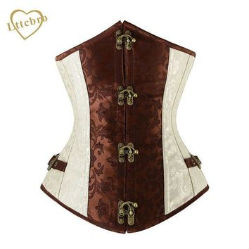 DCCKL3Z Brown and Lvory Underbust Corset  Goth Buckle Highest Quality Flowers Pattern Steampunk Corset