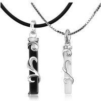 White Gold Plated 2 Piece Growing Vines Black and White Couple Pendant Necklace Set