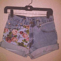 blue floral high waisted denim shorts