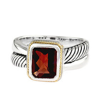 Effy Balissima Sterling Silver and 18 Kt. Gold Ring with Garnet Stone Pendant