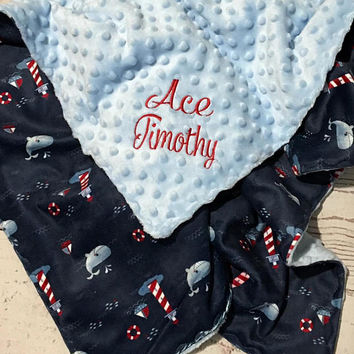 Personalized Baby Blanket,Whale print,Lighthouse,Baby Gift,Handmade Minky Blanket,Baby Bedding,Navy Blue Minky,Toddler Blanket,Monogrammed
