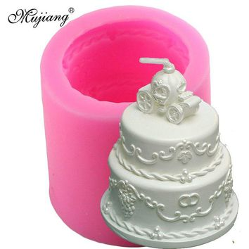 Mujiang 3D Wedding Cake Pumpkin Car Silicone Candle Mold Resin Clay Soap Molds Fondant Cake Decorating Chocolate Candy Moulds