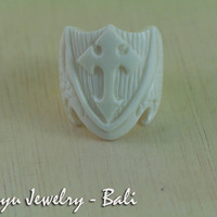 20mm White Saber Cross Shield in Bone Carving Ring - Handmade Organic Rings Collection RBS-BAL011