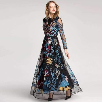european style  retro dress colourful embroidered gauze hollow out long sleeved floor length maxi dresses