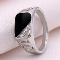 Size 7-12 Fashion  Men Jewelry Silver Plated Punk Titanium Steel Gem Ring Vintage Black Enamel Rings For Men sa782