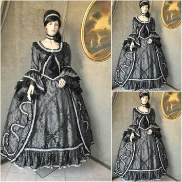 Customer-made Black Cosplay Renaissance Dress Victorian Costumes Civil war Dress Steampunk dress Gothic Halloween Dress C-651