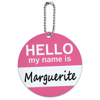 Marguerite Hello My Name Is Round ID Card Luggage Tag