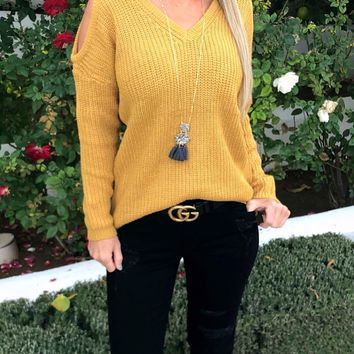 Bundle of Love Cold Shoulder Sweater: Mustard