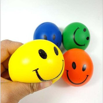 DCCKL72 Dia 7cm Stress Ball Novetly Smile Face Print Squeeze Ball Hand Wrist Exercise Stress Ball PU Rubber Toy Balls