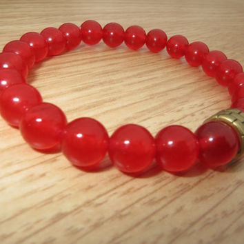 Mens RUBY Bracelet, Men's Jewelry, Passion and Love  Bracelet, Classy  Men Bracelet,Free Shipping,Ruby Beaded Bracelet