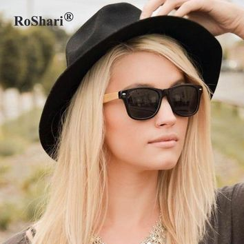 RoShari Bamboo Sunglasses with Mirrored and Gradient UV400 Lenses