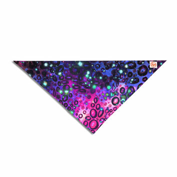 "Ebi Emporium ""Rainbow Dotty Ocean, Purple"" Pink Black Pet Bandana"