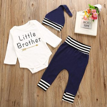 Puseky 3PCS Set Little Brother Newborn Baby Boy Clothes Long Sleeve Romper Tops Striped Blue Pant Hat Outfit Children Clothes