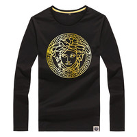 Unisex Medusa Long Sleeve T-shirts Fashion Round-neck Slim Cotton Print Gradient Bottoming Shirt [9565014983]