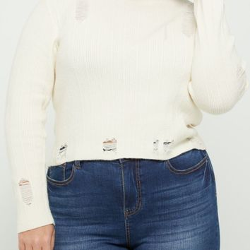 Plus Ivory Ripped Crop Sweater | Plus Sweaters | rue21