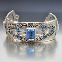 Blue Glass Silver Filigree Art Deco Bracelet, Rhinestone Bracelet, Sapphire Blue Wide Bracelet, Statement 1930s Antique Art Deco Jewelry