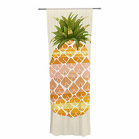"""Judith Loske """"Happy Pineapples """" Yellow Gold Decorative Sheer Curtain"""
