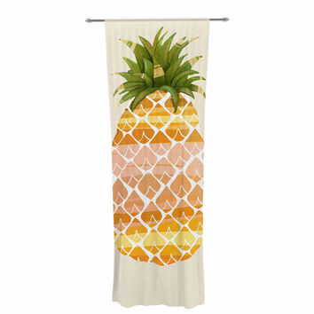 "Judith Loske ""Happy Pineapples "" Yellow Gold Decorative Sheer Curtain"