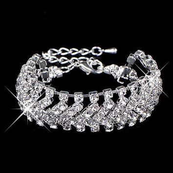 Crystal Jewelry Shiny Rhinestone Wide Bracelet