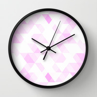 Pink Triangle Pattern Wall Clock by T30 Gallery