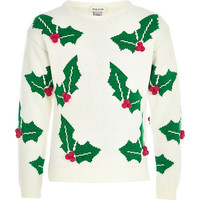 River Island Girls white holly sweater