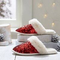 Sparkle Sequin Slippers, Red
