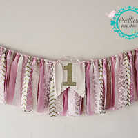 First Birthday Banner, Photo Prop Banner, Birthday Banner, Shabby Chic Banner, Rag Tie Banner, Rag Tie Birthday, Unique Birthday Banner