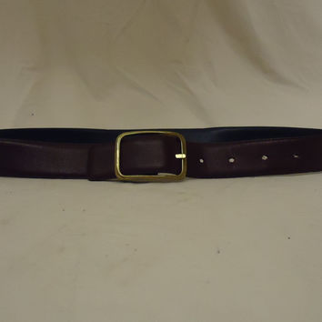 Designer Belt Casual 28in-32in Brass Buckle Leather Unisex Adult M Browns Solid -- Preowned