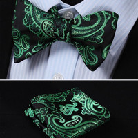 GC32 GREEN, BLACK Floral 100% Silk Butterfly Tie Self Tie Bow Tie Pocket Square